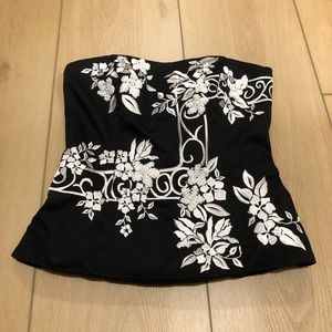 White House Black Market Floral Embroidered Corset